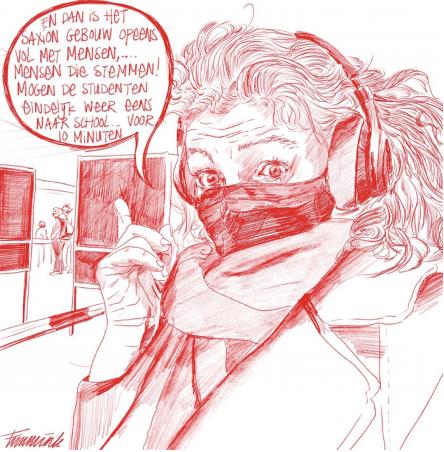 Spotprent Fransje Immink rood stempotlood
